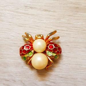 Beetle vintage brooch pin with pearls